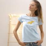 dámské tričko zlatý pašík na modré krátký rukáv S