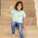 tričko neonkově růžový šťastný pašík na béžové krátký rukáv 2-3 roky